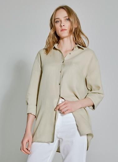 People By Fabrika Keten Oversize Gömlek Bej